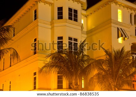 Low-rise apartment building at night