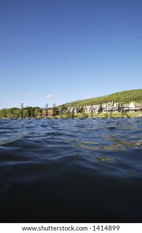 Low shot from Lake at Luxury Lake Homes