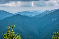 Low Tatras scenery from Sina peak, Slovak republic. Hiking theme. Seasonal natural scene.