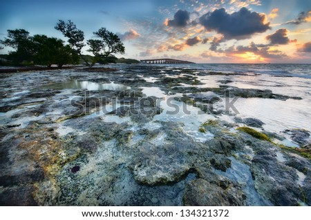 Low tide at the Florida Keys Islands. View to the Old Bahia Honda Railroad bridge. USA.