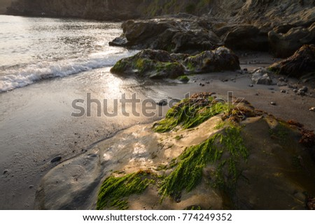 low tide reveals rock and sand...