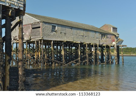 Low tide showing the wharfs and the pilings on the Penobscot narrows with the canadian coastline in the background
