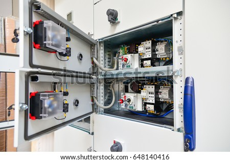 Low-voltage cabinet for power and distribution electricity. Uninterrupted, electrical voltage.