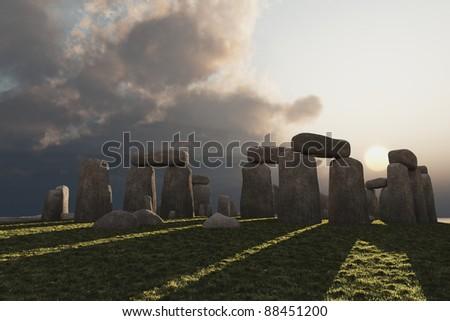 Low winter sun illuminates megalithic circle of standing stones