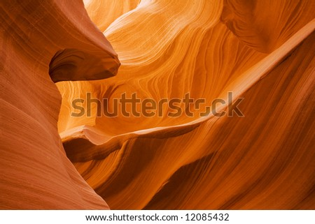 Lower Antelope Canyon located near Page Arizona on the Navajo reservation. A slot canyon is a narrow canyon, formed by the wear of water rushing through rock.