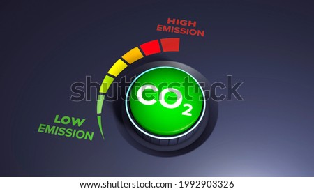 Lower CO2 emissions to limit global warming and climate change. Concept with knob to reduce levels of CO2. New technology to decarbonize industry, energy and transport. Carbon dioxide. 3d render Foto stock ©