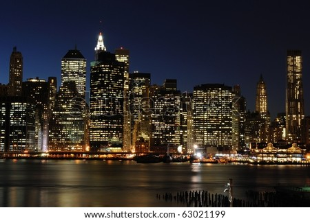 Lower Manhattan at night from the Brooklyn Heights Promenade.