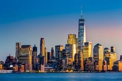Lower Manhattan at sunset viewed from Hoboken, New Jersey