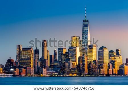 Lower Manhattan at sunset viewed from Hoboken, New Jersey #543746716