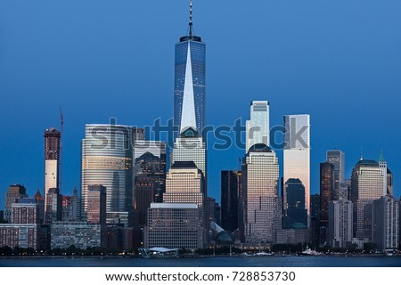Lower Manhattan Skyline at blue hour, NYC, USA #728853730