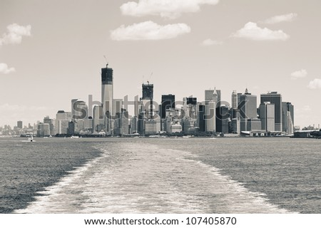 Lower Manhattan skyline from Staten Island Ferry boat, New York City. Sepia tone image.