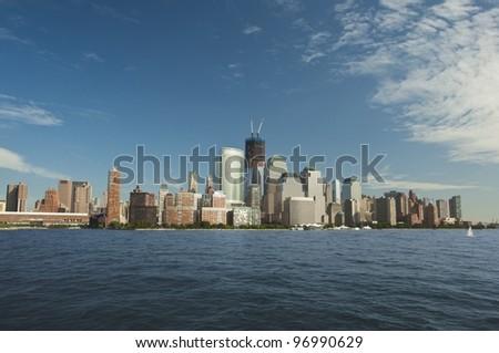 Lower Manhattan Skyline panoramic view, Panorama von Manhattans Skyline, New York City, USA, Amerika