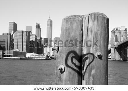 Lower Manhattan Skyline with heart - 2017 #598309433