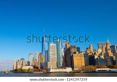 Lower Manhattan Skyline with One World Trade Center. New York, NY , USA - November 17,2018  #1241397259