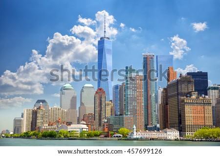 Lower Manhattan urban skyscrapers in New York City #457699126