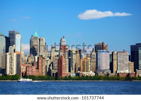 Lower Manhattan with Battery Park over Hudson River, New York City