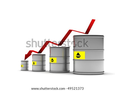 Lower oil prices. Metal drums and red arrow isolated on white background. High quality 3d render.