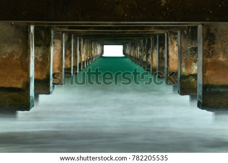 Lower structure of a pier in Hawaii. #782205535
