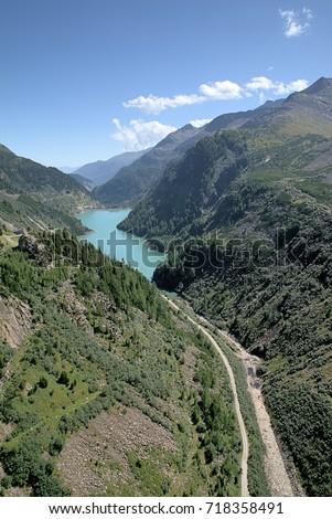 Lower Water Reservoir of Kolnbrein Dam, Carinthia, Austria Stock photo ©