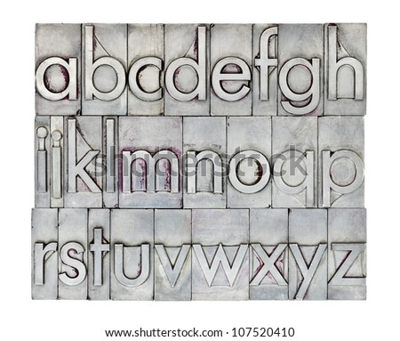 lowercase English alphabet  in vintage metal letterpress type, square composition isolated on white