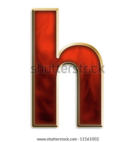 Lowercase h in fiery red & gold isolated on white series