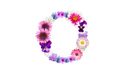 Lowercase o (flower letter) of the alphabet decorated with flowers