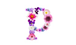 Lowercase p (flower letter) of the alphabet decorated with flowers