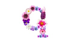 Lowercase q (flower letter) of the alphabet decorated with flowers