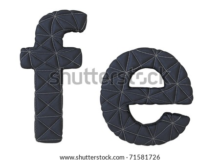 Lowercase stitched leather font f e letters isolated on white