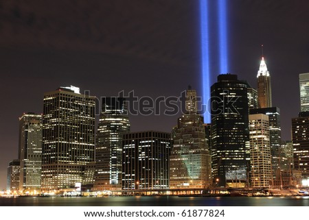 Lowers Manhattan Skyline and the Towers Of Lights (Tribute in Light 9/11 memorial) 