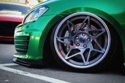 Lowrider custom stance stylish sports car closeup