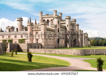 Lowther Castle, Lowther Park, Lake Districk, England, UK  Photo of an English  Castle viewed from driveway stock photo