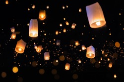 Loy krathong and Yi Peng Festival filled sky with lantern in Chiang Mai Thailand.