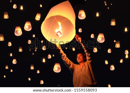 Loy Krathong festival in Chiangmai thailand , Sky lantern , Colorful lanterns decorated