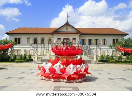 Loy krathong festival monument king The central area of Chiang Mai, Thailand. - stock photo