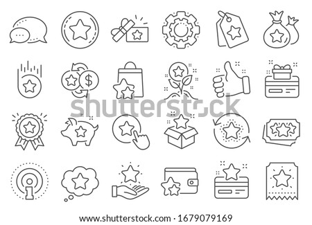 Loyalty program line icons. Bonus card, Redeem gift and discount coupon signs. Lottery ticket, Earn reward and winner gift icons. Shopping bag, loyalty card and lottery present. Line signs set.