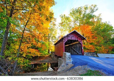 Loys Station Covered Bridge in Maryland during Autumn
