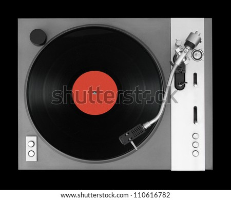 LP player isolated on black background - stock photo
