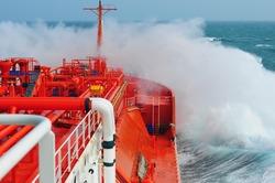 LPG tanker at stormy sea