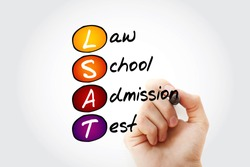 LSAT - Law School Admission Test acronym, education concept background