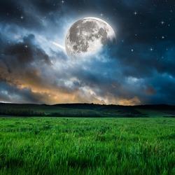 Lua, natureza, arte, vegetação, céu com nuvens