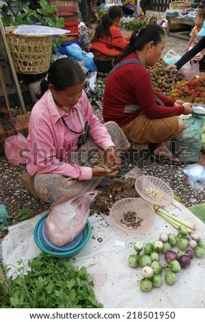 LUANG PRABANG, LAOS - AUGUST 15: Local hill tribe women selling their fresh food produce at the local market in Luang Prabang, Laos on the 15th August, 2014.