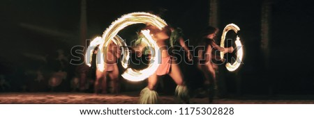 Luau party polynesian fire dancers throwing fire torches at night on beach resort. Hawaiian cultural activity, polynesia culture banner.