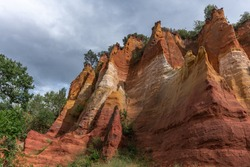 Luberon ocher near the village of Roussillon. Geological wonder in Provence.