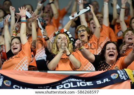 LUBIN, POLAND - FEBRUARY 22, 2017: Men's Volleyball Polish PlusLiga match Cuprum Lubin - Lotos Trefl Gdansk 3:1. Supporters of Cuprum. #586268597