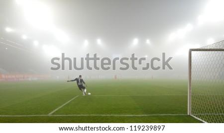 LUBIN, POLAND - NOVEMBER 16: Match Polish Premier League between KGHM Zaglebie Lubin - GKS Belchatow (1:0) in the strong fog on November 16, 2012 in Lubin, Poland.