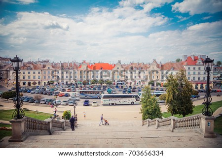 Lublin, Poland - August 19, 2017: Castle square in Lublin #703656334