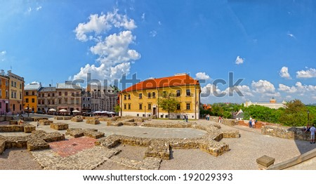 LUBLIN, POLAND-MAY 11:The Po Farze Square with reconstructed foundations of the former temple,on May 11,2013 in Lublin,Poland.Lublin is a candidate for the title of European Capital of Culture in 2016