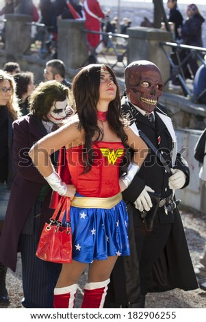 LUCCA, ITALY - OCTOBER 29: a Wonder Woman Cosplay poses for a photo during the Lucca Comics and Games annual festival on October 29, 2010 in Lucca, Italy.