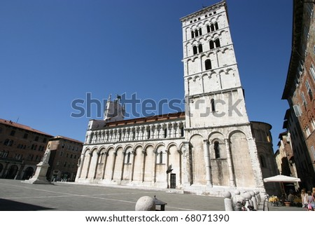 Lucca, Italy, view of the wonderful cathedral of Saint Michele